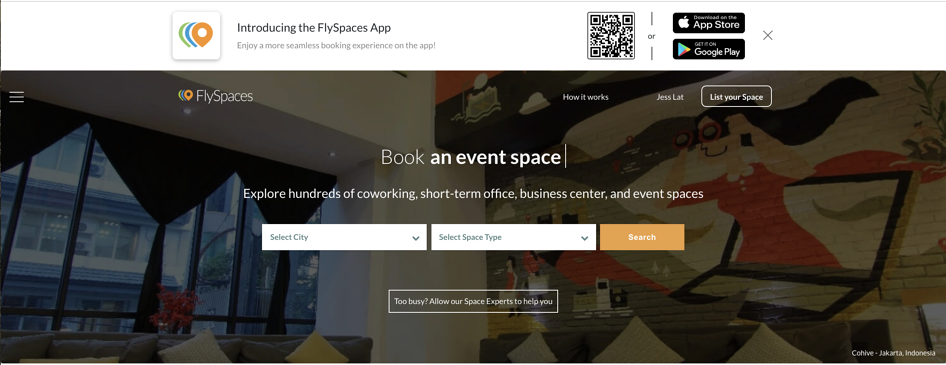 FlySpaces Southeast Asia #1 Booking Platform for Workspaces tool for coworking spaces