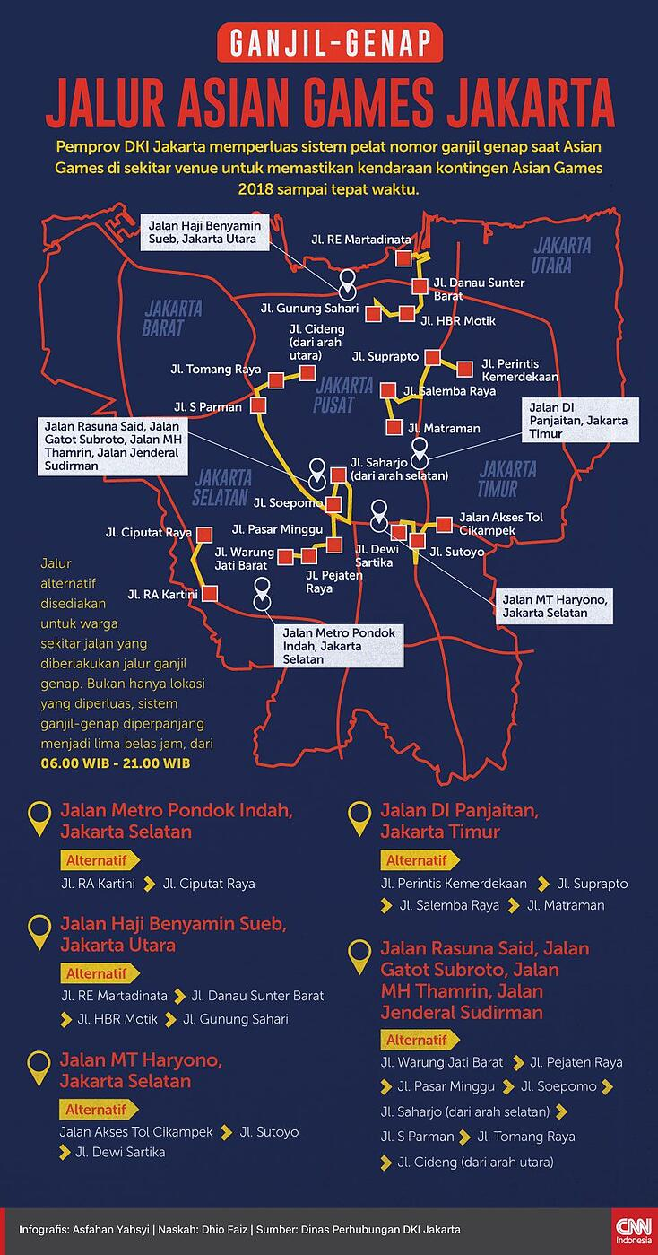 Map of odd-even policy area in Jakarta