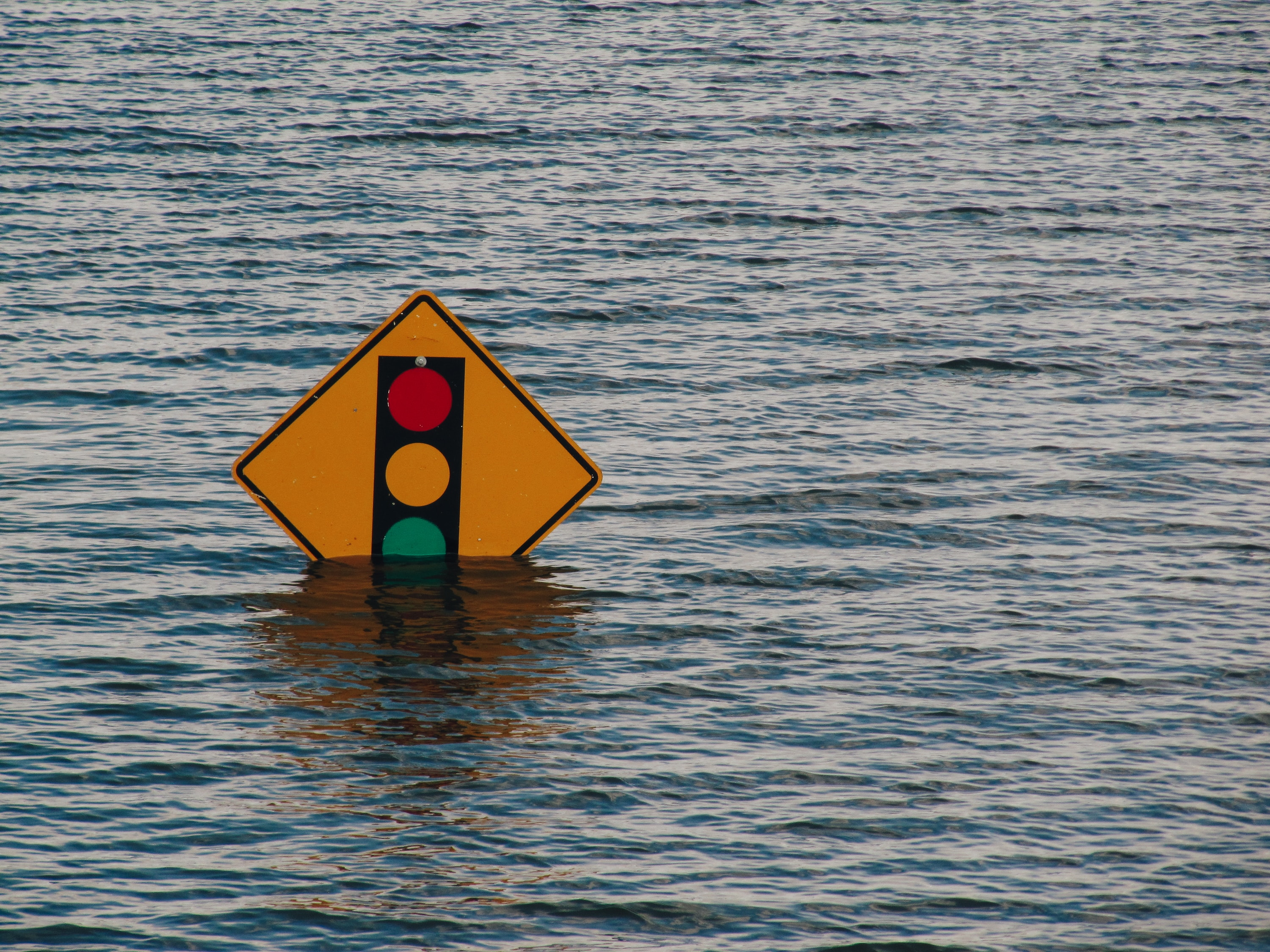 traffic sign in water unexpected circumstance